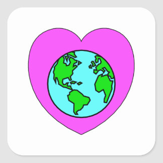 Heart Our Planet Square Stickers
