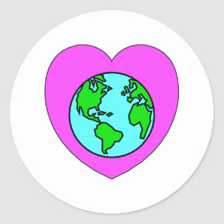 Heart Our Planet Round Stickers