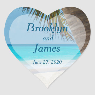 Heart Palm Trees On Beach Wedding Stickers
