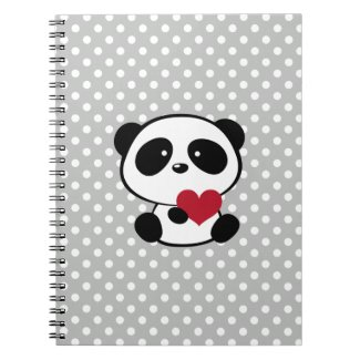 Heart Panda Bear Grey Polka Dots Notebook