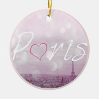 Heart Paris Pink Christmas Ornament