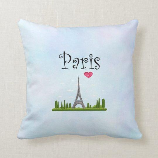 Heart Paris with Eiffel Tower Cushion