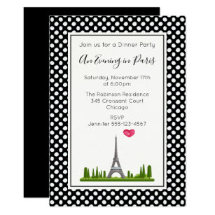 Black and white themed invitations announcements zazzle uk heart paris with eiffel tower dinner party invitation stopboris Choice Image