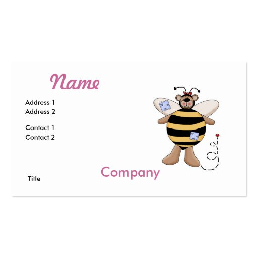 Heart Patch Bumble Bee Bear Business Cards