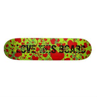 HEART Pattern ART 5 + your text green splatter Skate Board Deck