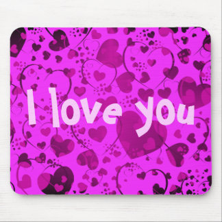 HEART Pattern ART 6 + your text pink Mousepad