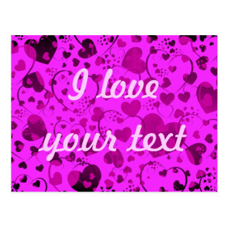 HEART Pattern ART 6 + your text | pink Post Card