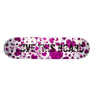 HEART Pattern ART 6 + your text Skateboard Deck