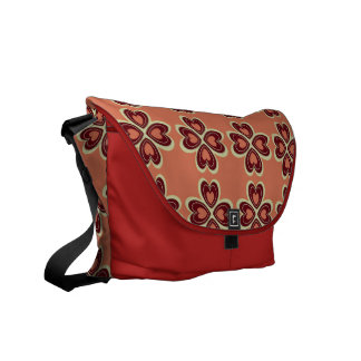HEART PATTERN BARN RED COURIER BAG