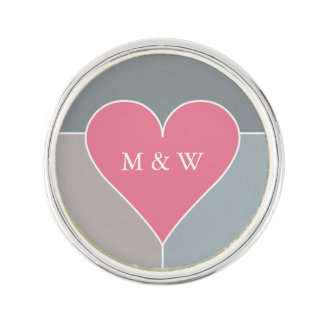 Heart Pattern custom monogram lapel pin