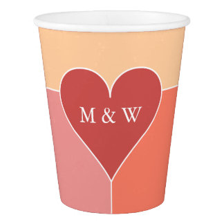 Heart Pattern custom monogram paper cups