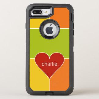 Heart Pattern monogram phone OtterBox Defender iPhone 8 Plus/7 Plus Case