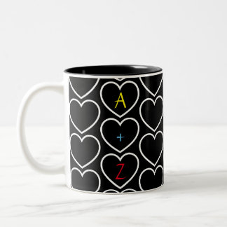 Heart Pattern Monogram Two-Tone Coffee Mug