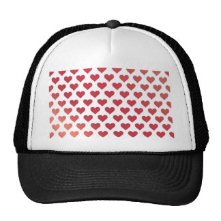 Heart Pattern - Red Berry Gradient Mesh Hat
