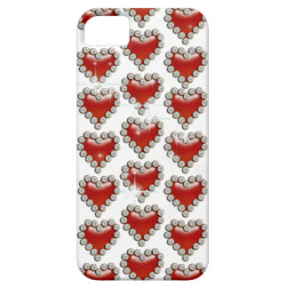 Heart pattern red white iPhone 5 cases