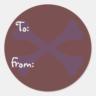 Heart Paw & Crossbones Round Sticker