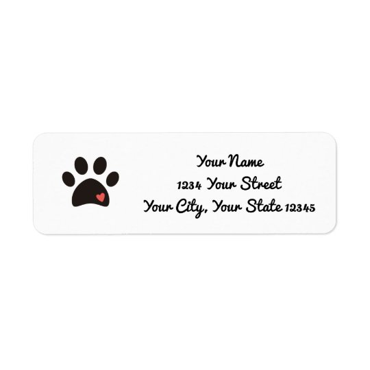 Heart Paw Print Address Label
