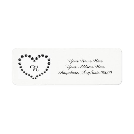 Heart Paw Print Address Labels