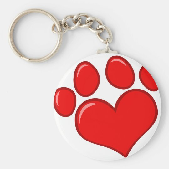 Heart Paw Print Basic Round Button Key Ring