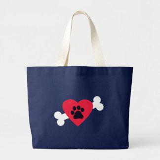 Heart, Paw Print, Bone Design Tote Bag