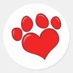 Heart Paw Print Round Sticker