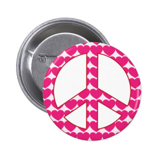 Heart Peace Sign 6 Cm Round Badge