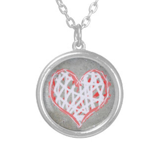 Heart Pendant in save Grey and White
