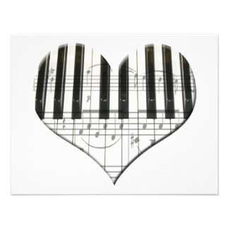 Heart Piano Keyboard and Music Notes Personalized Invitation