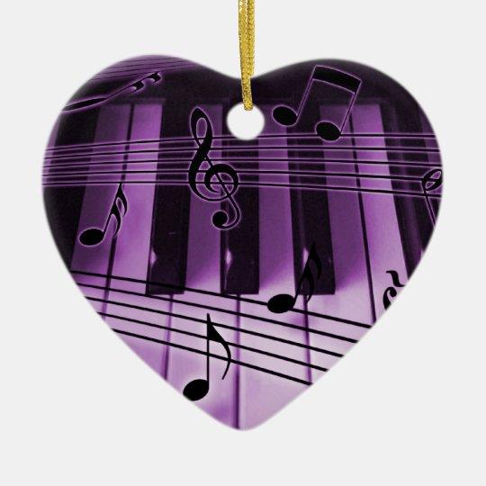 Heart Piano Keyboard Christmas Xmas Ornament