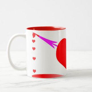 heart pierced by arrow Two-Tone mug