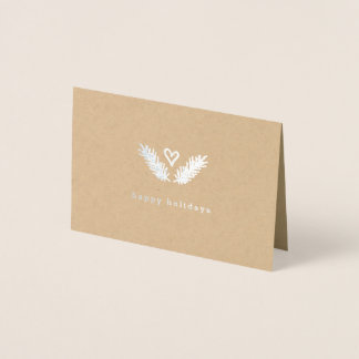 Heart & Pine - Silver & Kraft Paper Happy Holidays Foil Card