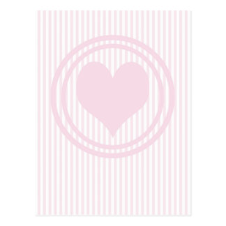 Heart & Pink and white stripes Postcard