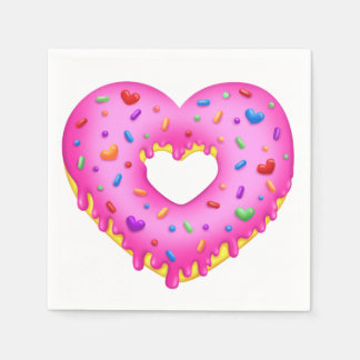 Heart Pink Donut with rainbow sprinkles Paper Napkin