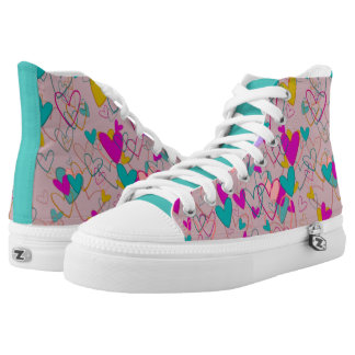 Heart Pink Girly Love Adorable Dramatic Mess High Tops