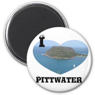 Heart Pittwater 6 Cm Round Magnet