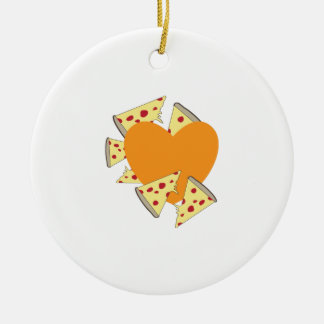 Heart Pizza Christmas Ornament