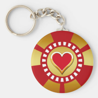HEART POKER CHIP BASIC ROUND BUTTON KEY RING