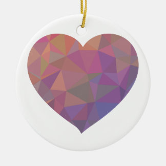 Heart Polygonal Red Pink White Violet Elegant Wish Round Ceramic Decoration