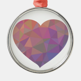 Heart Polygonal Red Pink White Violet Elegant Wish Silver-Colored Round Decoration