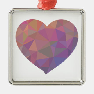 Heart Polygonal Red Pink White Violet Elegant Wish Silver-Colored Square Decoration