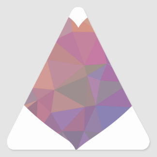 Heart Polygonal Red Pink White Violet Elegant Wish Triangle Sticker