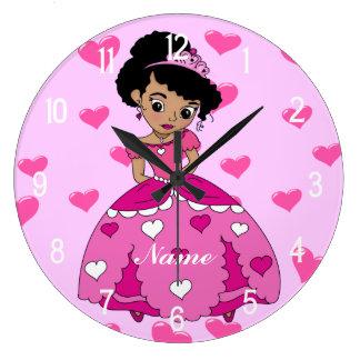 Heart Princess Illustration Large Clock
