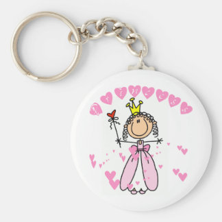 Heart Princess Stick Figure Tshirts and Gifts Basic Round Button Key Ring