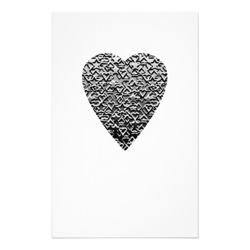 Heart. Printed Gray Pattern. Custom Flyer