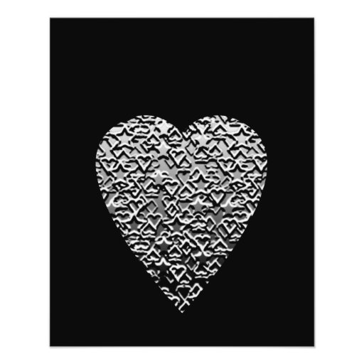 Heart. Printed Gray Pattern. Full Color Flyer