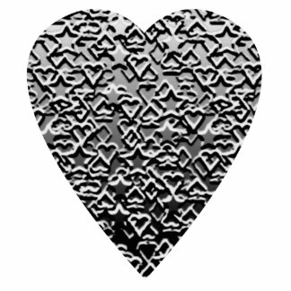 Heart. Printed Gray Pattern. Photo Sculpture Badge
