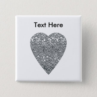 Heart. Printed Light Gray and Mid Gray Pattern. 15 Cm Square Badge