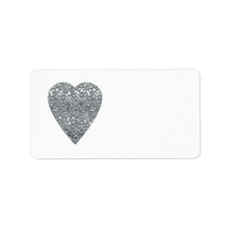 Heart. Printed Light Gray and Mid Gray Pattern. Address Label