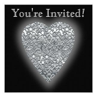 Heart Printed Light Gray and Mid Gray Pattern Custom Invitations