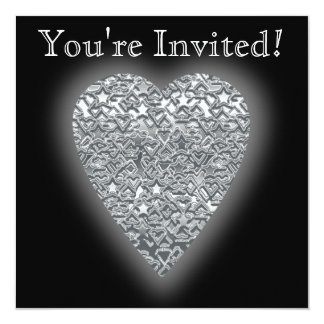 Heart. Printed Light Gray and Mid Gray Pattern. 5.25x5.25 Square Paper Invitation Card